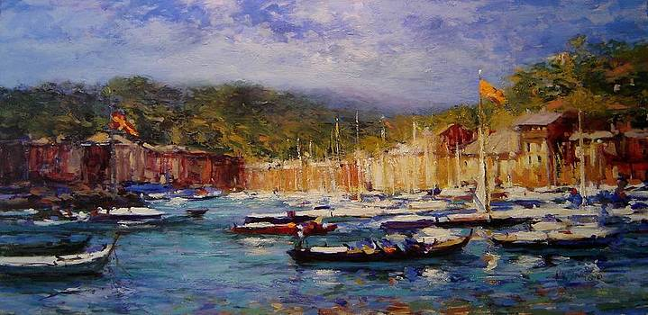 Boats at Portofino Italy  by R W Goetting