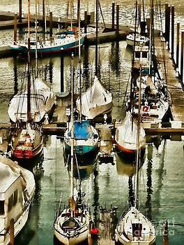 Boats In Boston Harbor by Jeff Breiman