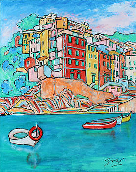 Boats In Front Of The Buildings X by Xueling Zou