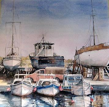 Boats in Marsaxlokk by Diane Agius