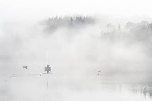 Boats in the Mist 3. Tantallon. Nova Scotia. by Rob Huntley
