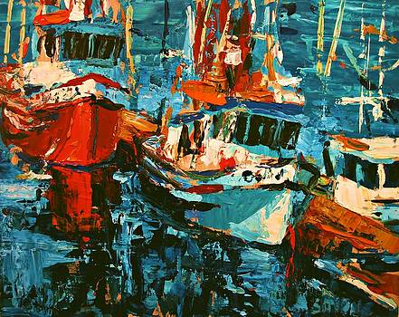 Boats In Turquoise by Brian Simons