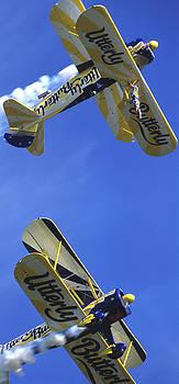 Boeing Stearmans In Mirror Wingwalking Aerobatics by Austin Brown