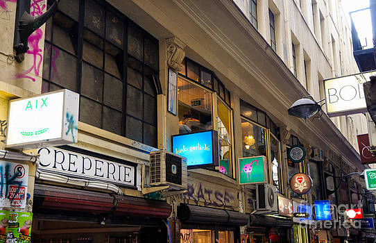 Bohemian signs in the atmospheric laneways of Melbourne Australia by David Hill