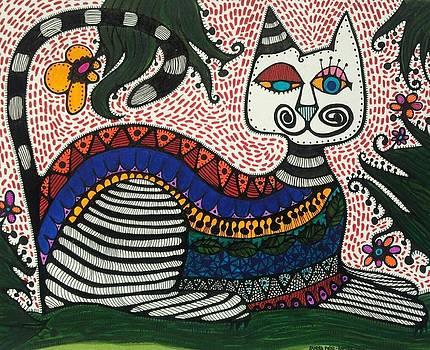 Boho Cat and Flowers by Sandra Perez-Ramos
