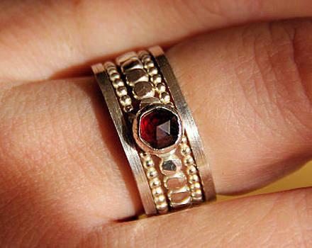 BOLD Genuine Rich Red Garnet Sterling silver Beaded Dotted stackable  stacking rings sizes 5 6 7 8 9 by Nadina Giurgiu
