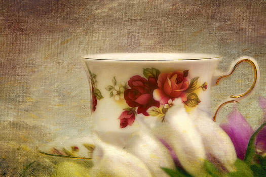 Peggy Collins - Bone China Teacup and Foxgloves