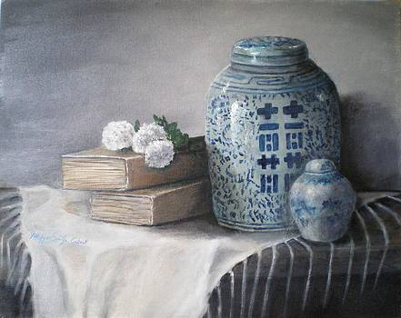 Books and Chinese Jars by Maggie  Cabral