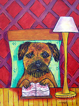 Border Terrier at the Library by Jay  Schmetz