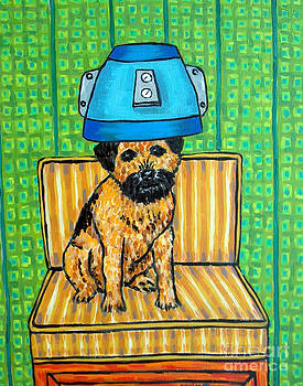 Border Terrier at the Salon by Jay  Schmetz