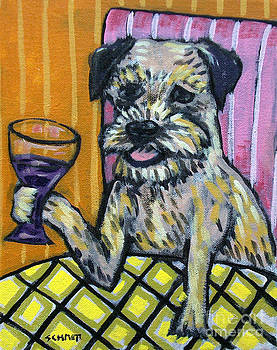 Border Terrier at the Wine Bar by Jay  Schmetz
