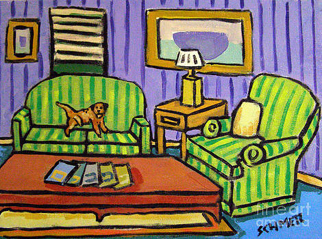 Border Terrier on the Couch by Jay  Schmetz