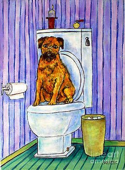 Border Terrier on the Toilet by Jay  Schmetz