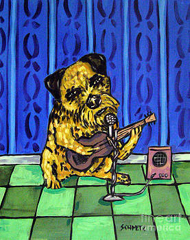 Border Terrier Playing Guitar by Jay  Schmetz
