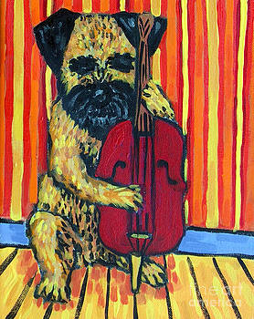 Border Terrier Playing Stand up Bass by Jay  Schmetz