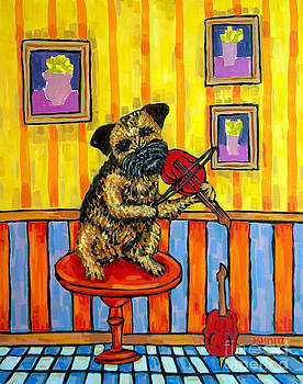 Border Terrier playing Violin by Jay  Schmetz