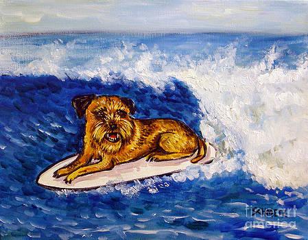 Border Terrier Surfing by Jay  Schmetz