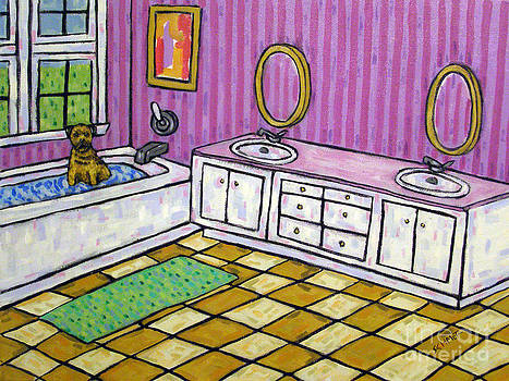 Border Terrier Taking a Bath by Jay  Schmetz