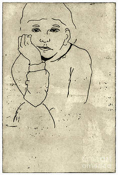 Boredom - Portrait Of A Child - Childrens World - Childhood - Childs Expression - Etching  by Urft Valley Art