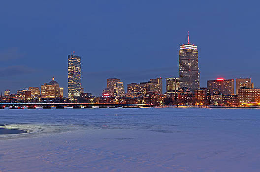 Juergen Roth - Boston Prudential Center Lit in Blue and Red for Super Bowl XLIX