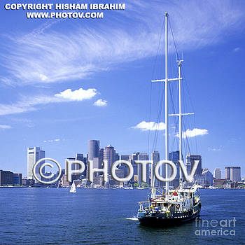 Boston skyline and sailboat - Massachusetts - Limited Edition by Hisham Ibrahim