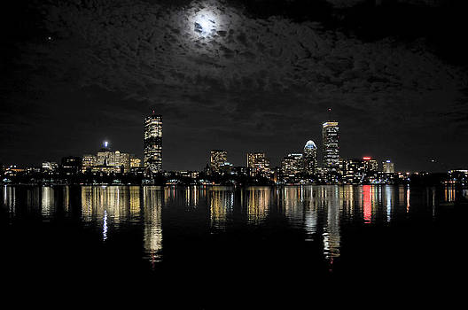Boston Skyline At Night by Liz Mackney