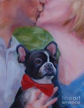 Boston Terrier and Kiss by Pet Whimsy  Portraits
