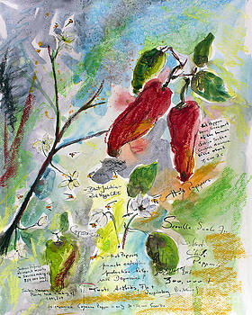 Ginette Callaway - Botanical Art Hot Peppers Blossoms and Bees