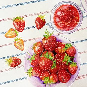 Bottled strawberries by Sonali Sengupta