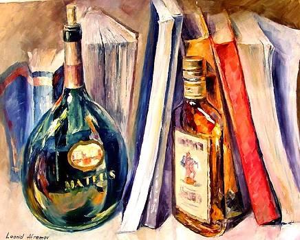 Bottles And Books - PALETTE KNIFE Oil Painting On Canvas By Leonid Afremov by Leonid Afremov