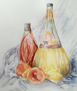 Bottles and Fruit by Ruth Etzwiler
