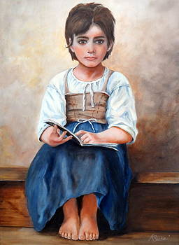 Tribute To Bouguereau's Difficult Lesson  by Anne Barberi