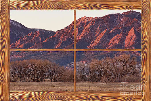 James BO  Insogna - Boulder Flatirons Morning Barn Wood Picture Window Frame View