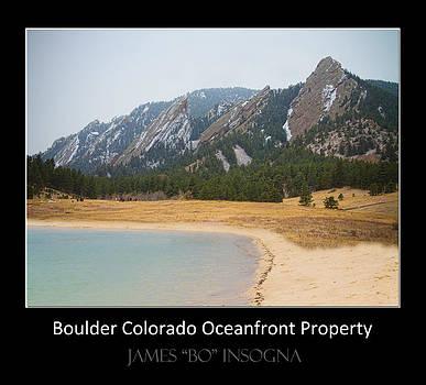James BO  Insogna - Boulder Flatirons Oceanfront Property Poster Black