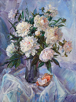Bouquet of white peonies and seashell by Galina Gladkaya