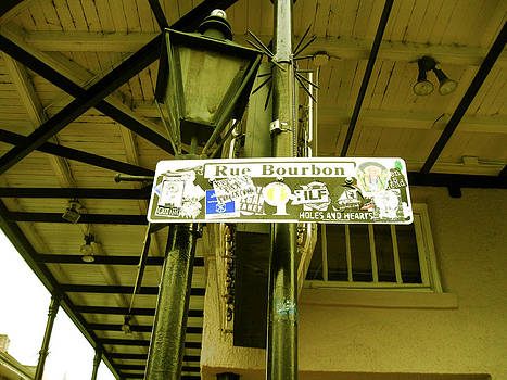 Bourbon St Sign Travel Stickers by Michael Morgan