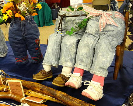Boy and Girl Pants Pots on Love Seat by Kathleen Luther