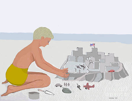 Boy and Sand Fort by Fred Jinkins