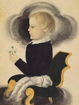 Boy Holding Flowers c1840 by James S Ellsworth