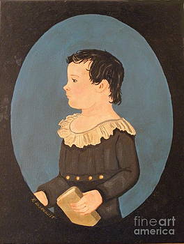 Boy With Book With Antiqued Finish by Robert Arsenault