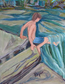 Betty Pieper - Boy with Foot in Falls