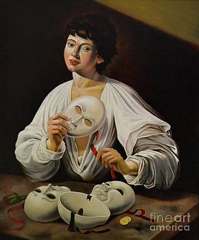Boy with masks or the Hypocrite  hommage to Caravaggio by Nathalie Chavieve
