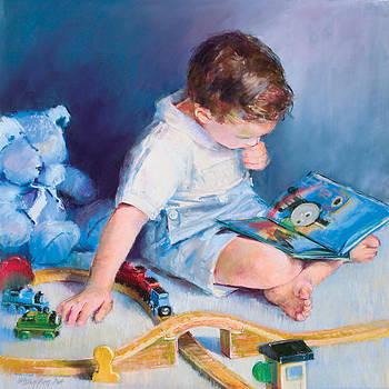 Boy With Train by Beverly Amundson