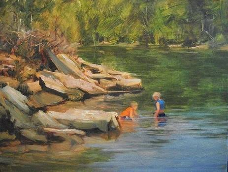 Boys Playing in the Creek by Margaret Aycock