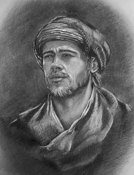 Brad Pitt - pencils portrait by April Lily
