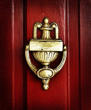 Rebecca Brittain - Brass Knocker on Red Door