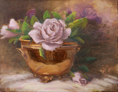Brass Vase with Rose by Michele Tokach