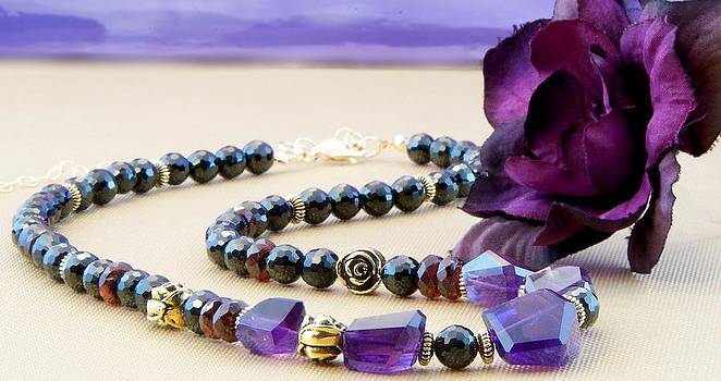 Brazilian Amethyst Crimson Garnet and Black Spinel on Gold Necklace by WDM Gallery