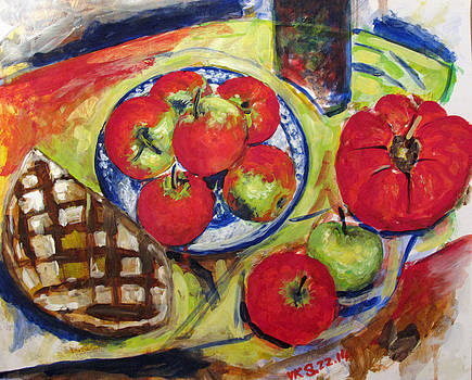 Bread tomato and apples by Vladimir Kezerashvili