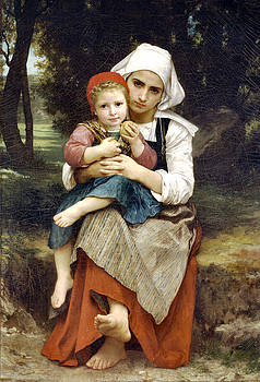 Breton Brother And Sister by William Adlophe Bouguereau